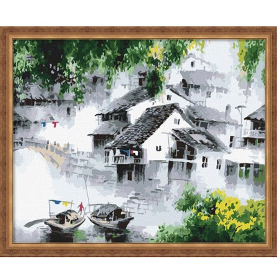 Cheap digital painting diy living room decorative painting murals painted married couples dream water 40 50