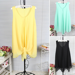 The korean style irregular chiffon shirt sleeveless blouses sets of head dress