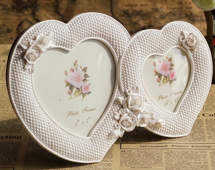 创意树脂相框白色爱心双格框工艺品礼品生日礼物田园摆件时尚个性