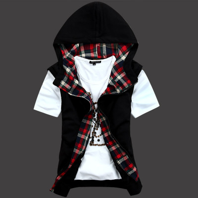 AGETIDE genuine men cotton vest vest jacket fashion personality oblique zipper shirt Discounted tide