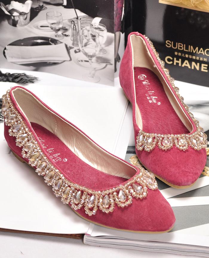 新款真皮韩版淑女结婚季尖头单鞋水钻婚鞋平底鞋 平跟女鞋船鞋公主鞋