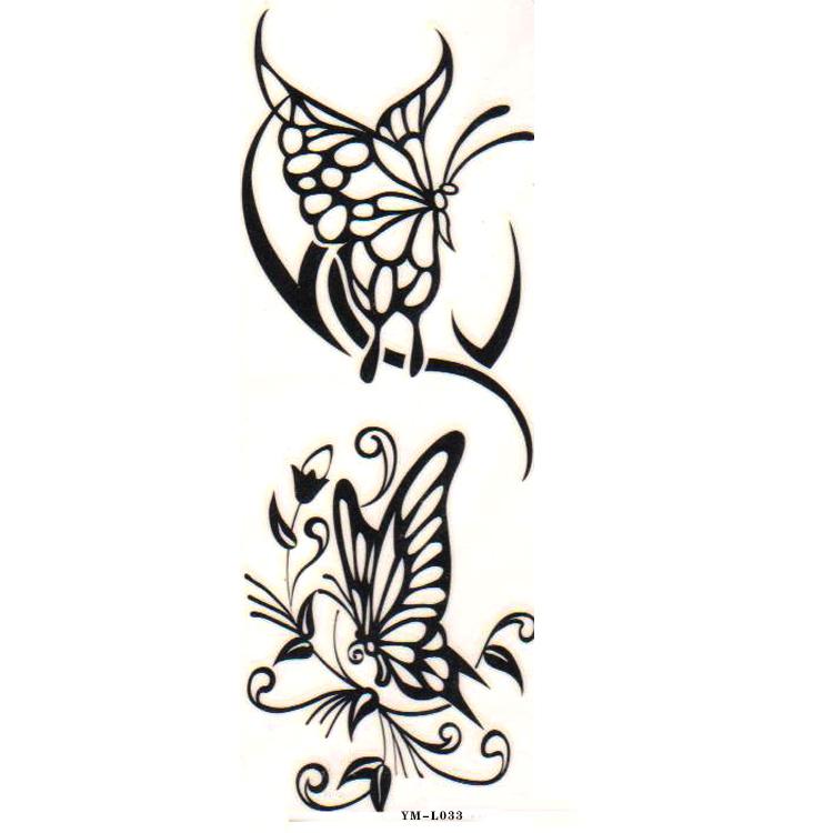 文纹身贴纸 男 防水 女 彩色蝴蝶 手臂脚踝骨纹