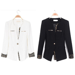 Slim suit jacket sleeve sequined neckline
