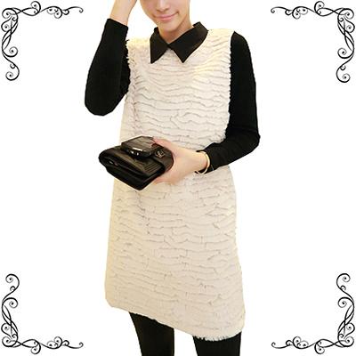 Женское платье Пакет почты кролик плюша как мозаика, вязание хип ретро лацкане платье Принцесса Кукла воротник тонкий корейские зимние