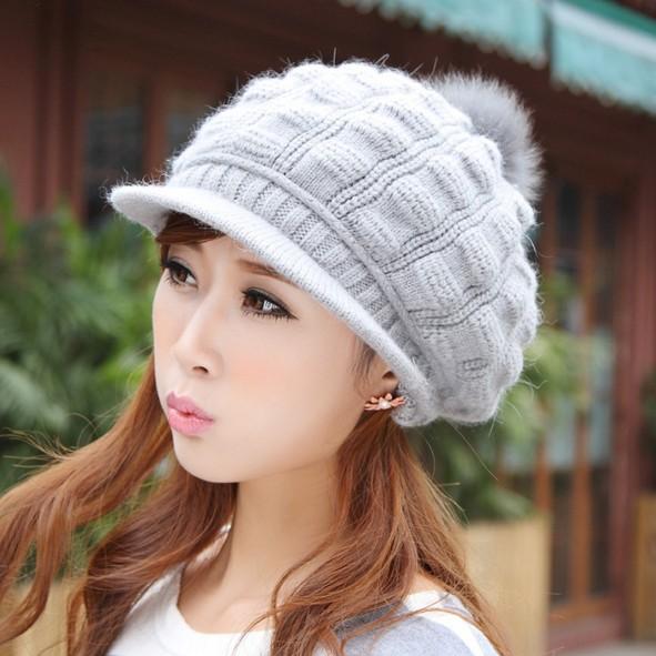 Головной убор Корейских милый зимние шляпы женщин зимняя шерсть шляпы Хань Guochao леди кролика шарики Вяжем шапки