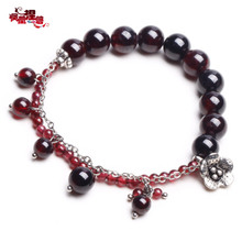 Phoenix Nirvana original natural garnet bracelet new female fashion handmade jewelry Miao silver Chinese style