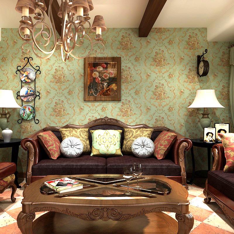 歌诗雅墙纸 家装客厅卧室 美式乡村田园复古怀旧大花壁纸 09图片
