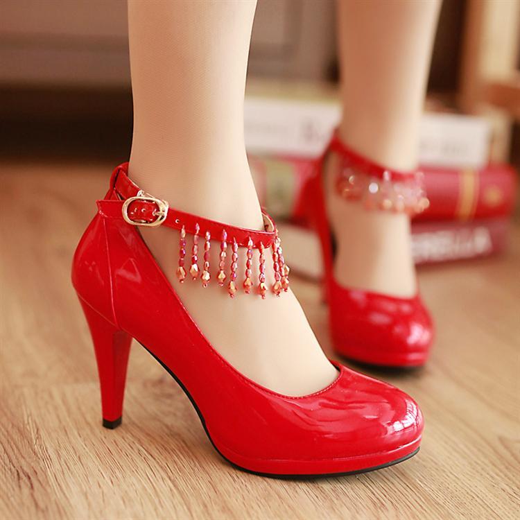 新娘鞋漆皮单鞋女士高跟防水台韩国公主鞋 高跟鞋 婚鞋红色
