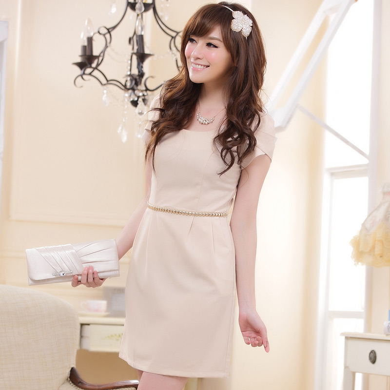 2013夏装新款品质大码女装 甜美收腰修身铆钉短袖连衣裙 晚礼服OL