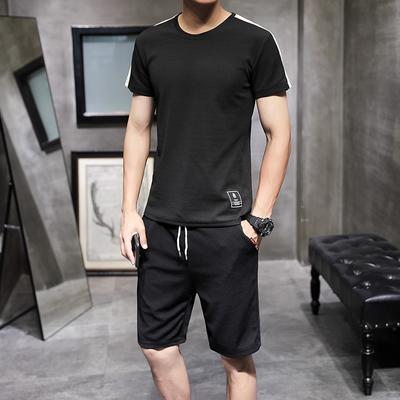 夏季新款潮流上衣青少年短袖T恤五分裤套装男休闲男士宽松大码男