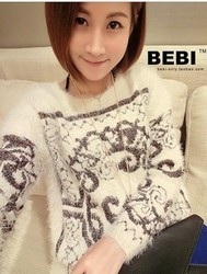 Korean style gold embroidery patterns loose large size plush mohair pullover sweater