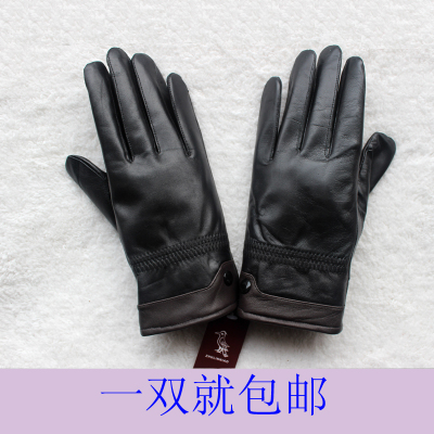 Men's leather gloves sheep Pitt price plus thick velvet warm autumn and winter thin models women's outdoor cycling gloves