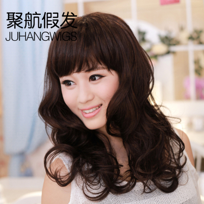 Poly Air wig scroll fluffy wig lifelike big wave Korean girls oblique bangs wig whole top
