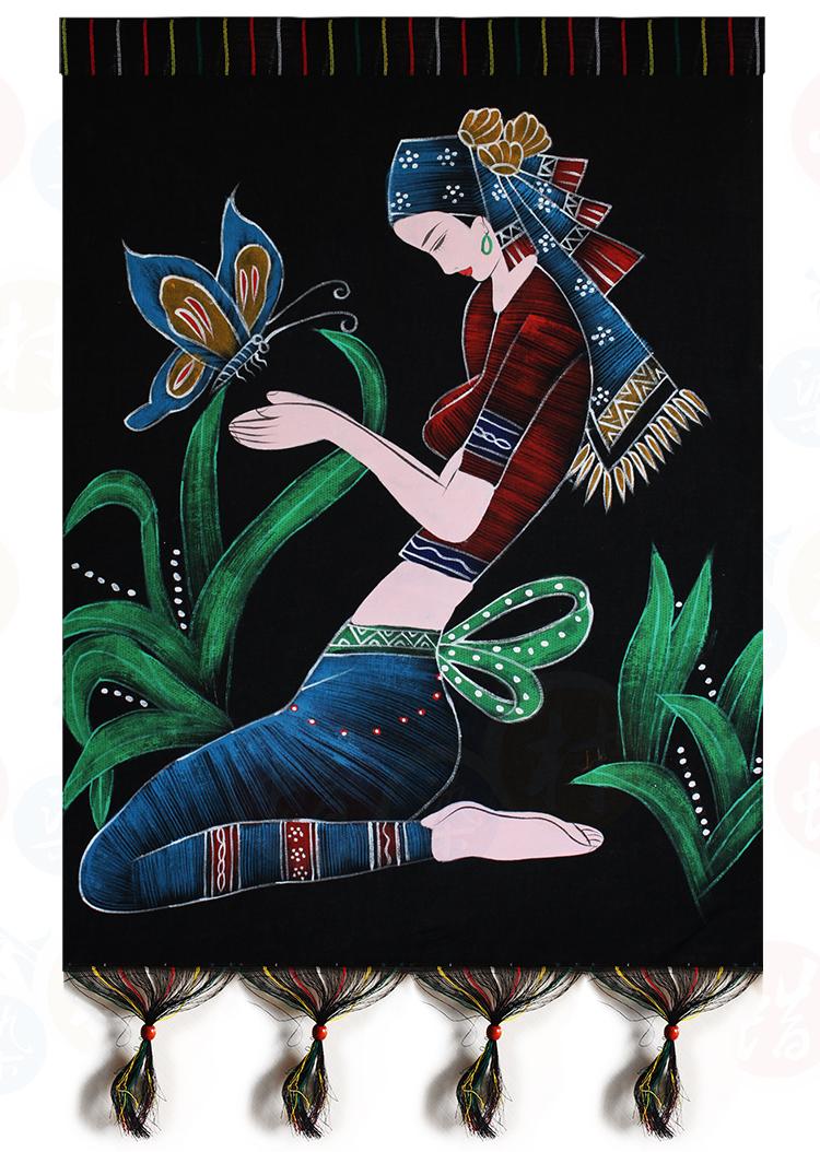 重彩人物画 家居装饰画 民族工艺画 重彩双层壁挂 戏蝶54*70cm图片