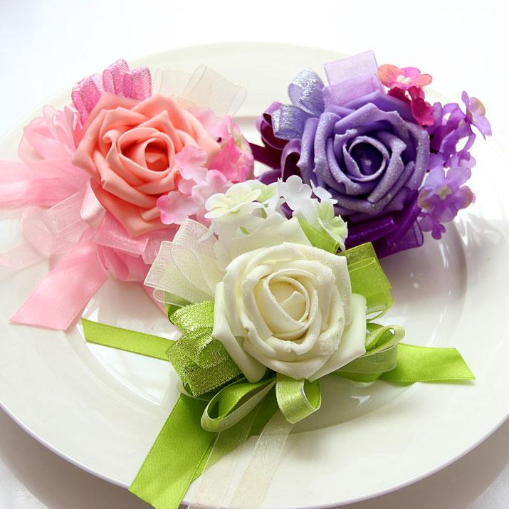 喜品空间 手工婚庆玫瑰新娘手腕花 伴娘手花 韩式姐妹花 结婚用品图片
