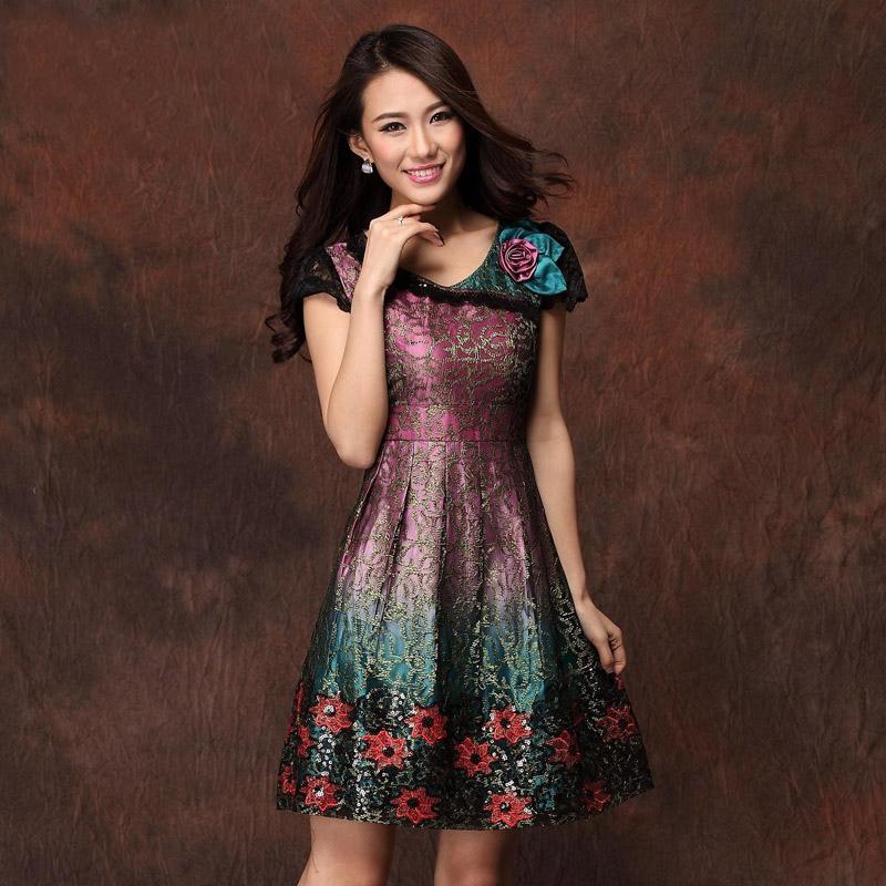 夏装新款高端精品中年女装妈妈装连衣裙婚礼服婚宴庆台湾高档品牌
