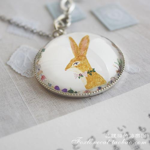 狐狸猫饰乐园★森系银色主题麋鹿兔子鸟儿项链 原创手工复古首饰