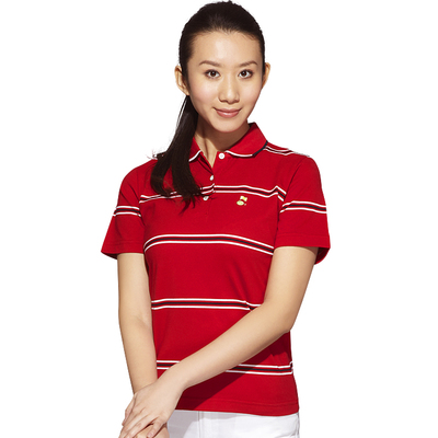 T-shirt Ladies Golf Apparel mercerized Egyptian cotton / Paradigm simple beauty anti-UV striped T-shirt