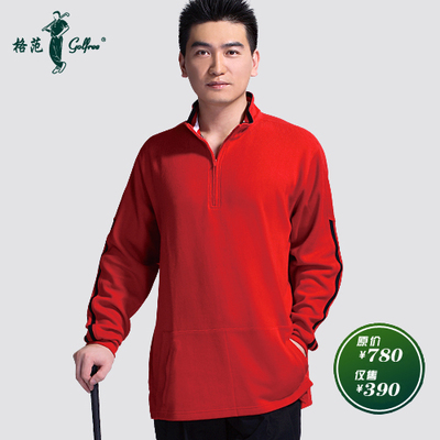 Men's long-sleeved shirt bottoming thick warm golf apparel / Paradigm metallic red collar striped T-shirt warm