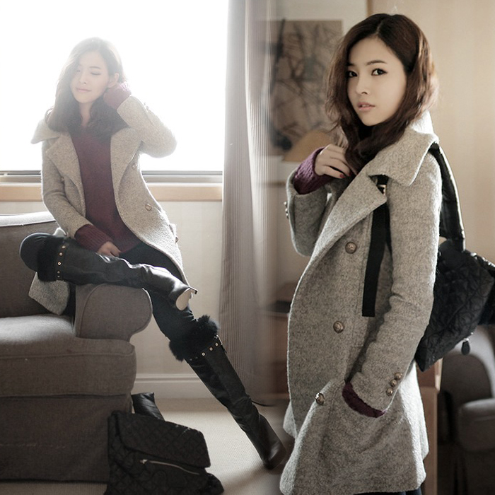 2013 spring new Korean fashion Lady ladies woolen cloth wool coats slim padded warm coat women