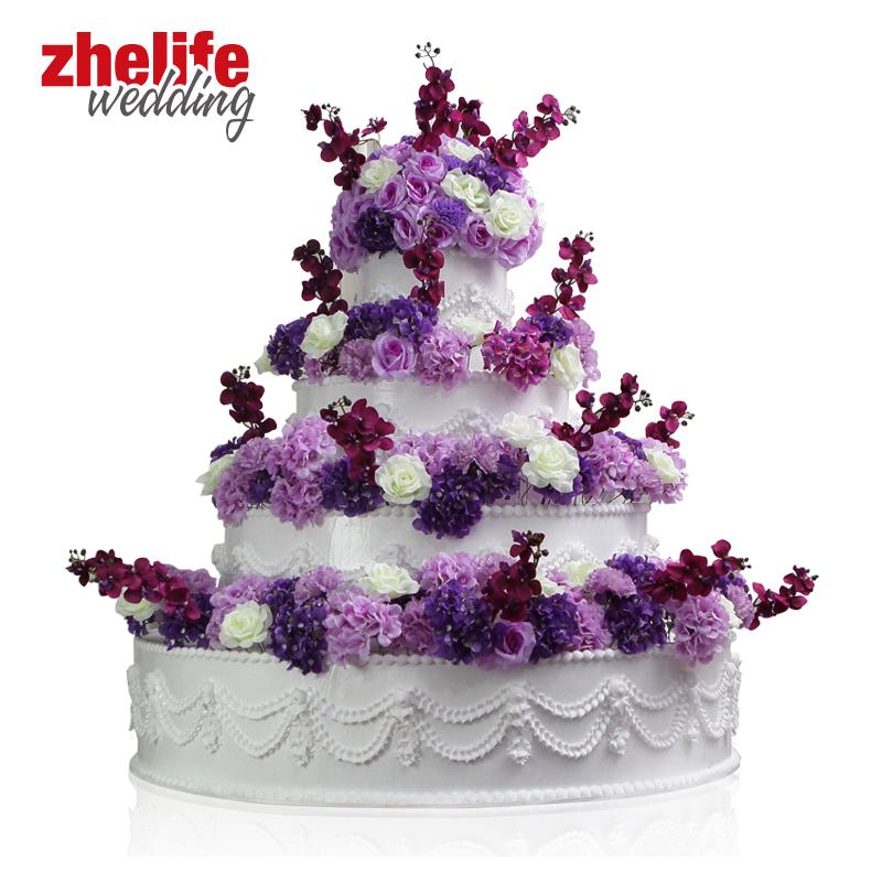 婚庆婚礼仿真道具用品公仔硅塑胶半全灯不带灯四层蛋糕塔模型定制