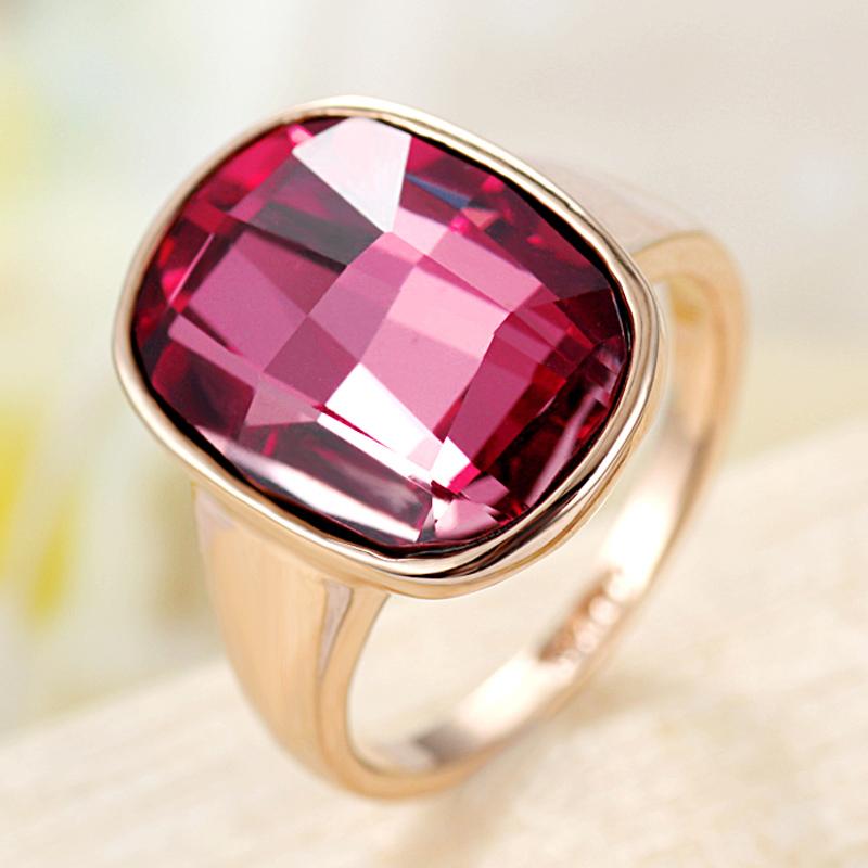 瑗昕饰品 绝色 欧美奢华夸张紫色水晶戒指玫瑰金食指环女礼物KA79
