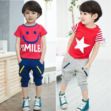 2013 new summer children's smiling face cartoon short-sleeved T-shirt harem pants boys two-piece suit small and medium-sized children's clothing