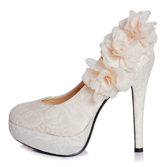туфли Белый с цветами невеста свадьба обувь пятки платформы кружево Принцесса невесты Пром платье плюс размер Женская обувь