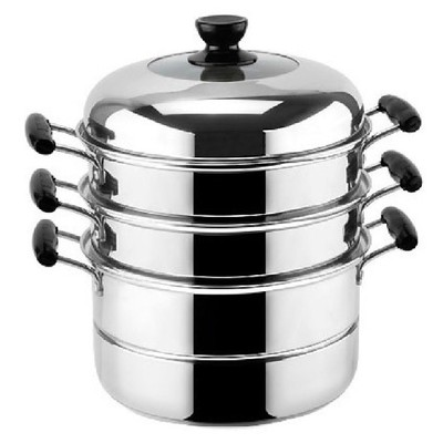 Multi-regional shipping dual British steamer 24-34cm thick double bottom three stainless steel steamer pot grid cage