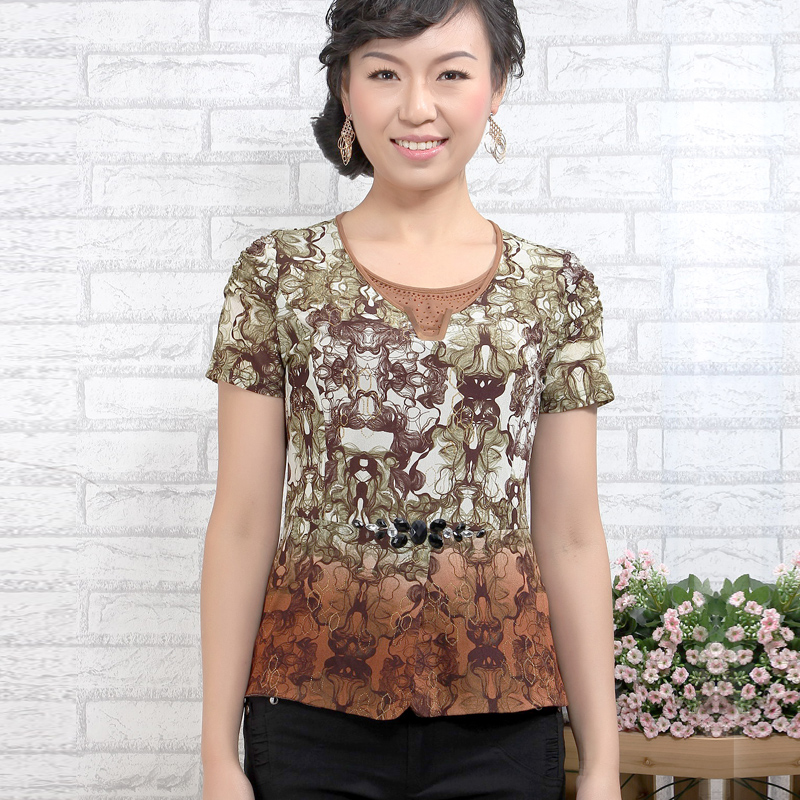Blangah caused Plus Size Polyester & Spandex Printing Round Collar Short Sleeve Women T-Shirt