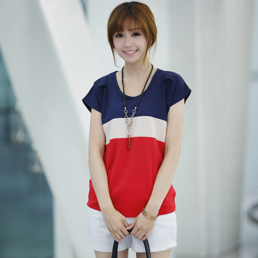 2013 summer dress new style t-han bat t shirts women's plus size short sleeve mixed colors loose chiffon crisp linen shirt