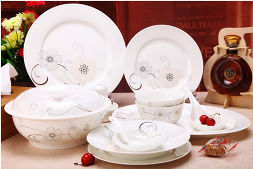 餐具套装 景德镇陶瓷器56头高档正品韩式骨瓷套碗盘碟特价