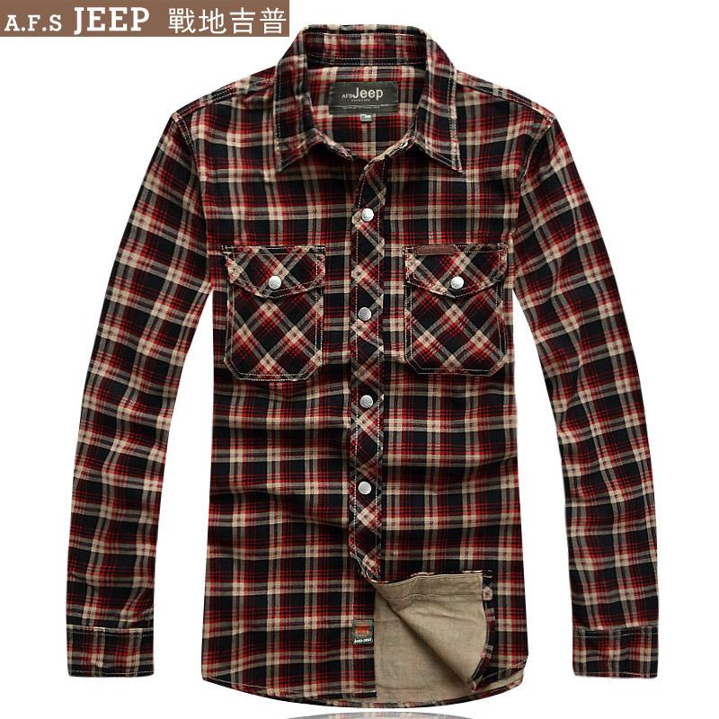 Рубашка мужская Afs Jeep 1948 Осень 2012 Ткань в клетку С остроконечным лацканом Длинные рукава ( рукава > 57см )
