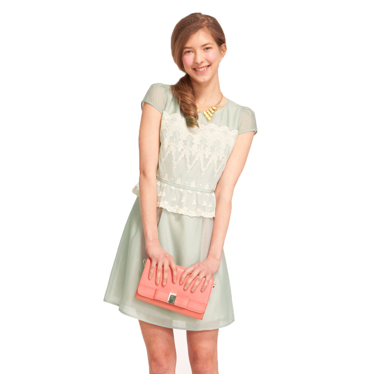 Women short sleeve lace dress