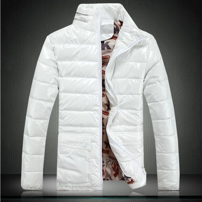 p90黑底 冬季爆款男士修身时尚亮面棉衣棉服防寒服m616白色