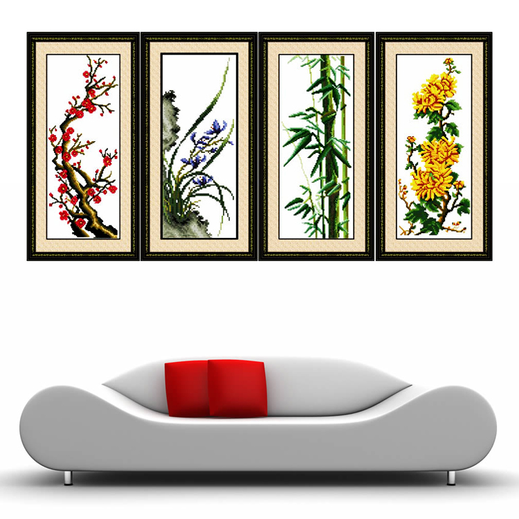 Silk plum, Orchid, bamboo and chrysanthemum cross stitch precision printing four-painting living room series large latest great decorative painting painting