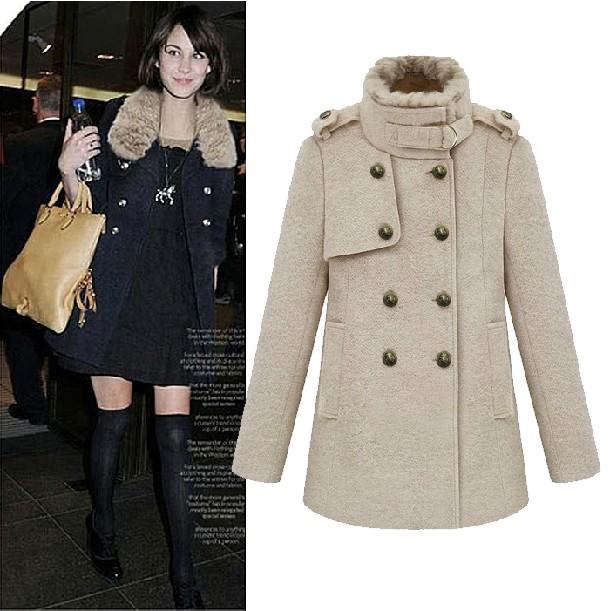 2013冬装新欧美街头潮流女装大衣 呢大衣双排扣加厚毛呢外套女潮