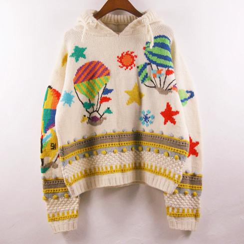Свитер женский Ретро Винтаж Винтаж чистой шерсти ручной работы с капюшоном свитер лес воздушный шар вокруг Овчина