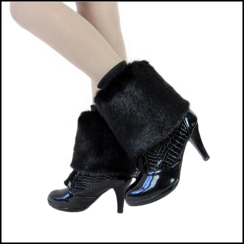 Аксессуар Faux норки Фокс волос кролика меховой загрузки охватывает гетры ноги длины ног кормящих женщин колено сапоги
