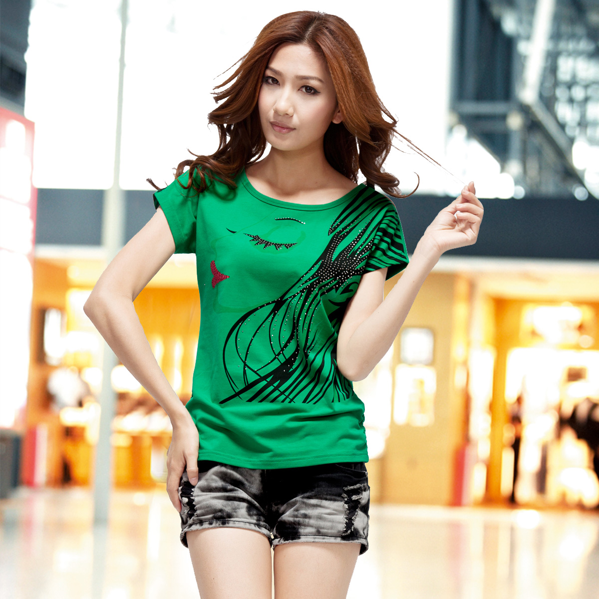 Wang Dan 2013 summer clothing female Korean loose new ladies ' short sleeve t shirt plus size t shirts clothing girl 3,325
