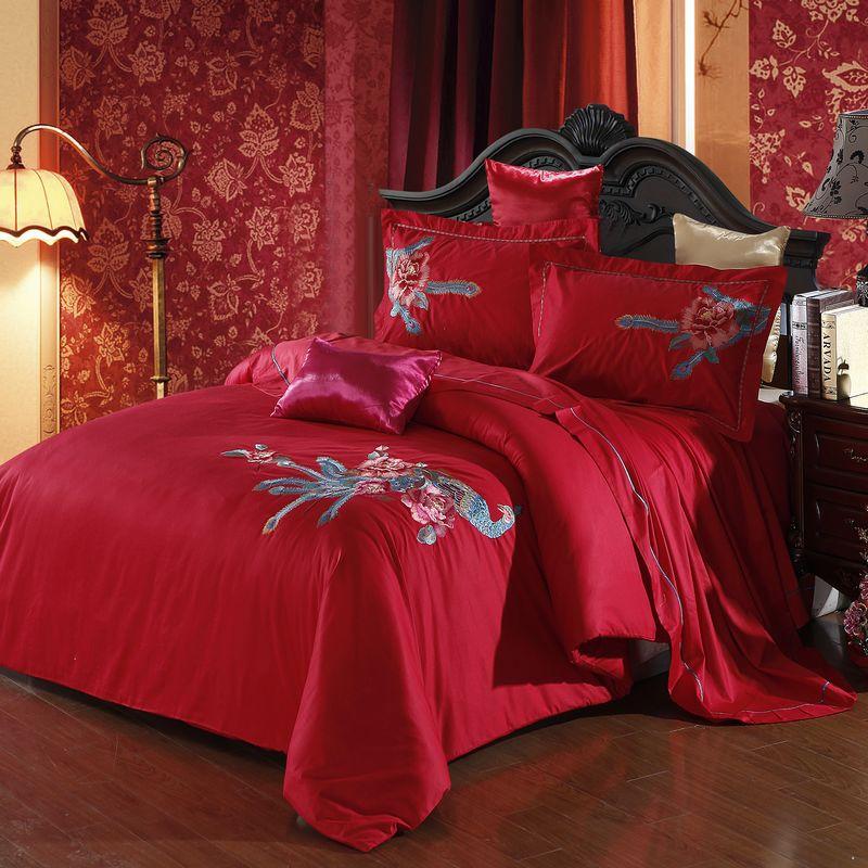 翘雅家纺 100%精梳全棉婚庆绣花四件套 床上用品 床品 包邮