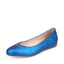 Prada普拉达蓝色真皮材质亮片装饰女士平底休闲鞋图片