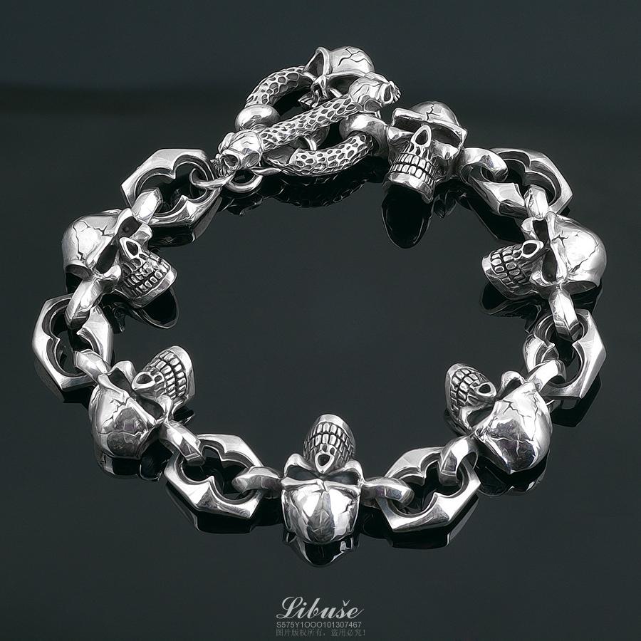 丽伯萨 925纯银饰品骷髅头进口时尚男士男款重型手链