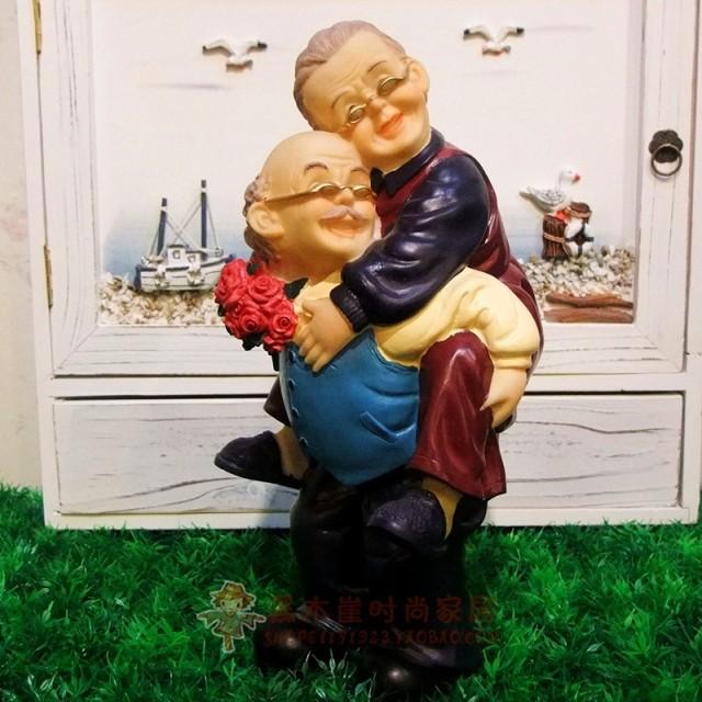 创意树脂大号背着公婆家居装饰摆件结婚婚庆礼物过寿送父母礼品