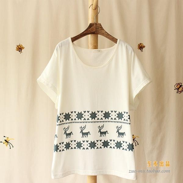 日系 简约百搭小鹿印花宽松圆领纯棉白色T恤女款