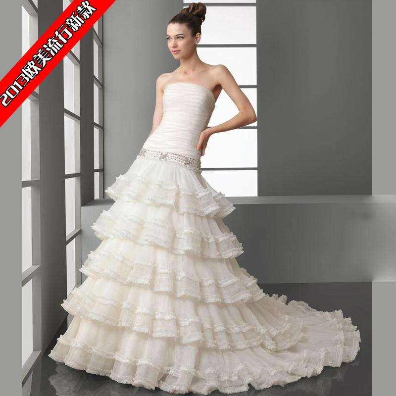 verawang王薇薇公主层次婚纱包邮 新娘抹胸拖尾婚纱礼服2013最新
