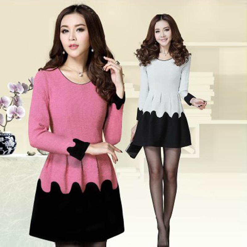 Женское платье Spot новый цвет для осень/зима, шерстяное платье с длинным рукавом платья с тонкий юбка осенью темперамент