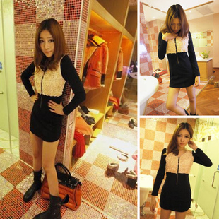 Fall/winter 2012 new Korean girl dresses of ladies ' slim Pack hip end of mosaic fashion long sleeve dress
