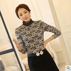 Heavy size lace shirt Ladies long sleeve high-necked lace