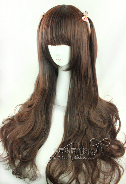 Аксессуары для косплея «Это парик» COS повседневной Ветер колледж улице темно коричневый вьющимися волосами природного 60/80 см